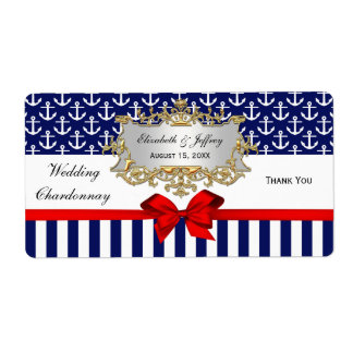 Navy White Anchors Stripe Red Bow Party Wine Label