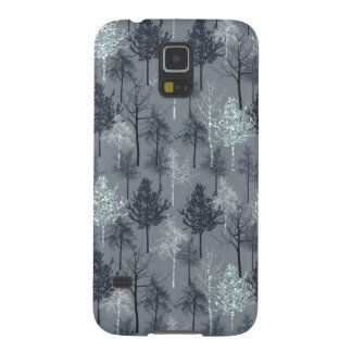 Navy White and Blue Faux Glitter Trees Galaxy S5 Covers