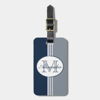 Navy White and Silver Stripes Monogram Bag Tag
