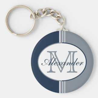 Navy White and Silver Stripes Monogram Keychain