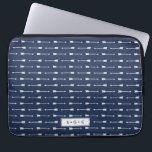 "Navy &amp; White Arrows Pattern Monogram Computer Sleeve<br><div class=""desc"">Design features a white arrow pattern on a classic navy blue background. Personalize with a name,  monogram,  or text of your choice,  or simply delete the text field and white box to leave blank. Tons of coordinating accessories available in our shop!</div>"