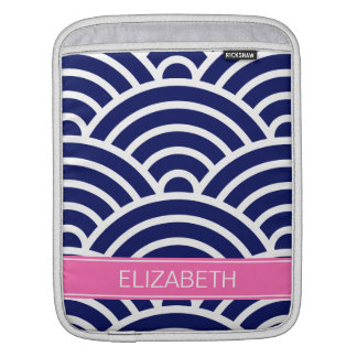 Navy White Art Deco Arches Hot Pink Name Monogram Sleeve For iPads