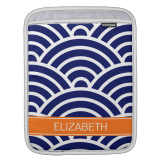 Navy White Art Deco Arches Pumpkin Name Monogram Sleeve For iPads