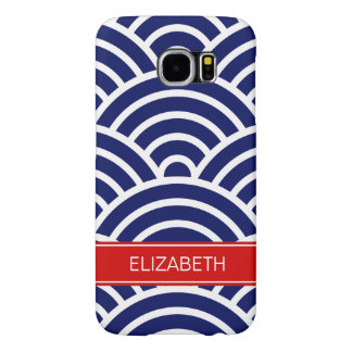 Navy White Art Deco, red name monogram Samsung Galaxy S6 Case