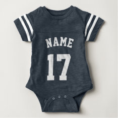 Navy & White Baby | Sports Jersey Design Baby Bodysuit at Zazzle