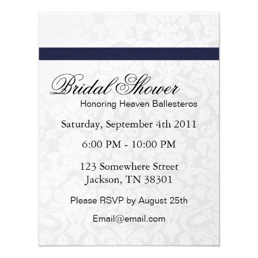 Navy & White Bridal Shower Invitations