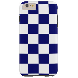 Navy & White Checkered Pattern iPhone 6 Plus Case