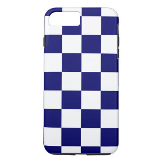 Navy & White Checkered Pattern iPhone 7 Plus Case