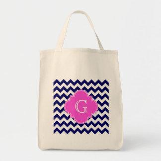Navy White Chevron Hot Pink Quatrefoil Monogram Bags