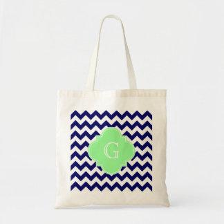 Navy White Chevron Mint Green Quatrefoil Monogram Tote Bags