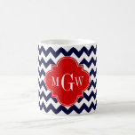 Navy White Chevron Red Quatrefoil 3 Monogram Coffee Mug