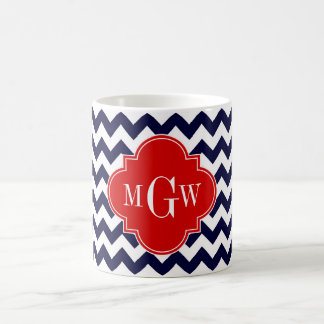Navy White Chevron Red Quatrefoil 3 Monogram Coffee Mug