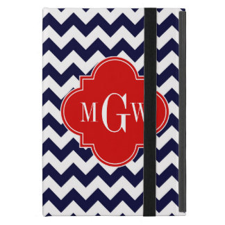 Navy White Chevron Red Quatrefoil 3 Monogram iPad Mini Case