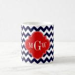 Navy White Chevron Red Quatrefoil 3 Monogram Classic White Coffee Mug