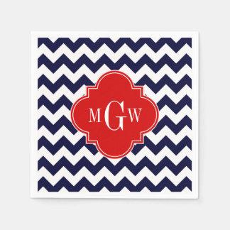 Navy White Chevron Red Quatrefoil 3 Monogram Paper Napkin