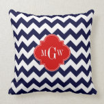 Navy White Chevron Red Quatrefoil 3 Monogram Pillows