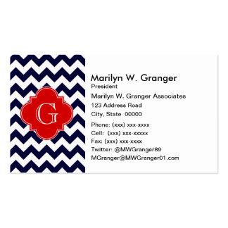 Navy White Chevron Red Quatrefoil Monogram Business Card