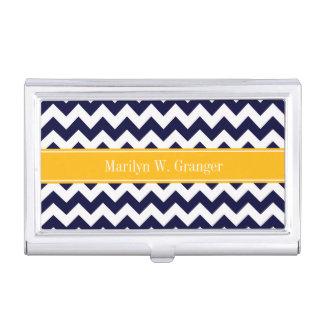Navy White Chevron ZigZag Goldenrod Name Monogram Case For Business Cards