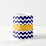 Navy White Chevron ZigZag Goldenrod Name Monogram Coffee Mug