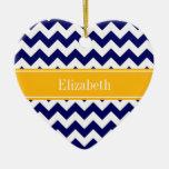 Navy White Chevron ZigZag Goldenrod Name Monogram Double-Sided Heart Ceramic Christmas Ornament