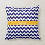 Navy White Chevron ZigZag Goldenrod Name Monogram Throw Pillows