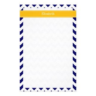 Navy White Chevron ZigZag Goldenrod Name Monogram Stationery