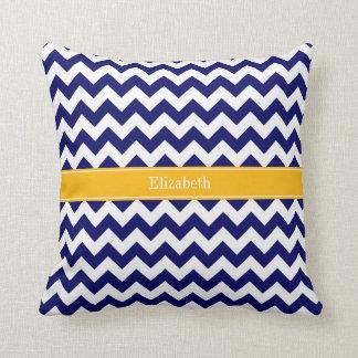 Navy White Chevron ZigZag Goldenrod Name Monogram Throw Pillow