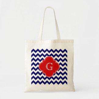 Navy White Chevron ZigZag Red Quatrefoil Monogram Bags