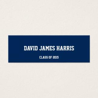 Navy white collegiate graduation insert name card