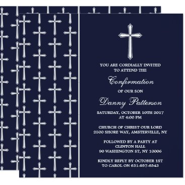 Beach Themed Navy & White Cross Holy Communion Or Confirmation Card