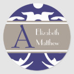 Navy White Customize Last and First Name Sticker
