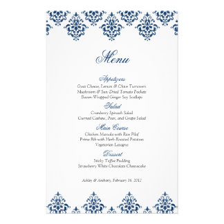 Navy White Damask Arabesque Wedding Menu Card