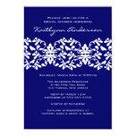Navy & White Damask Bridal Shower Invitation