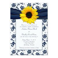 Navy White Damask Sunflower Wedding Invitation 5&quot; X 7&quot; Invitation Card (<em>$2.27</em>)