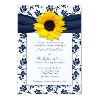 Navy White Damask Sunflower Wedding Invitation