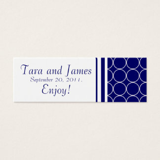 Navy White Dots Wedding Favour Tag Card