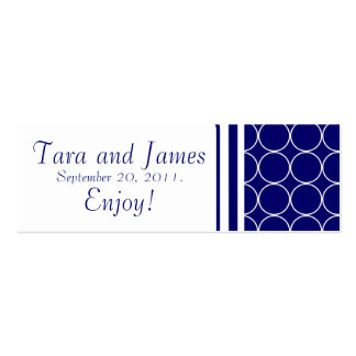 Navy White Dots Wedding Favour Tag Card Mini Business Card