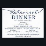 """navy white Elegant Script Rehearsal Dinner Invite<br><div class=""""desc"""">navy and white Elegant Script Wedding Rehearsal Dinner Invitations</div>"""
