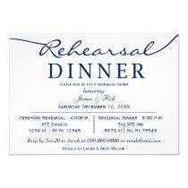 navy white Elegant Script Rehearsal Dinner Invite