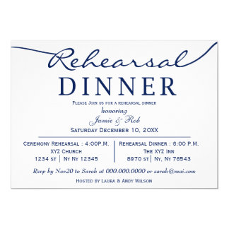 Dinner party invitations announcements zazzle navy white elegant script rehearsal dinner invite stopboris Image collections