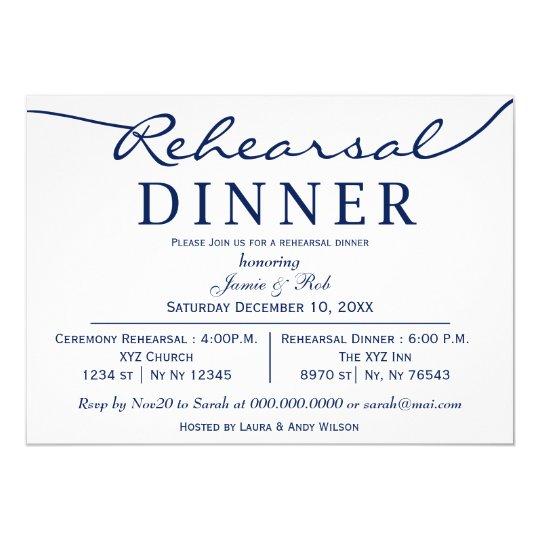 navy white elegant script rehearsal dinner invite zazzle com
