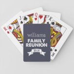"Navy &amp; White Family Reunion Playing Cards<br><div class=""desc"">Commemorate your family reunion in a unique way with these custom playing cards. Design features a deep midnight blue background with white text and banner. Customize with your family name and reunion year. Great favor for everyone at the gathering!</div>"