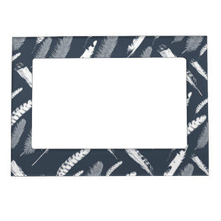 Navy White Feathers Photo Frame Magnets