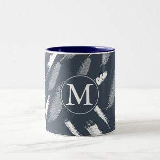 Navy White Feathers Monogram Two-Tone Coffee Mug