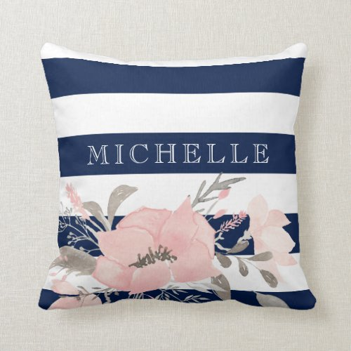 Navy | White Floral Personalized Throw Pillow