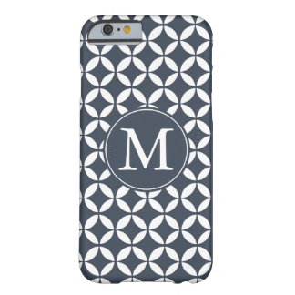 Navy White Geometric Circles Monogram Barely There iPhone 6 Case