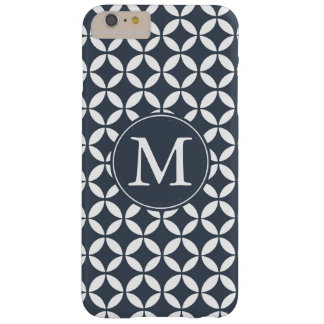 Navy White Geometric Circles Monogram Barely There iPhone 6 Plus Case