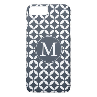 Navy White Geometric Circles Monogram iPhone 8 Plus/7 Plus Case
