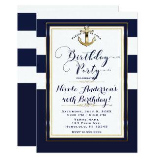 Navy White & Gold Anchor Nautical Birthday Party Card