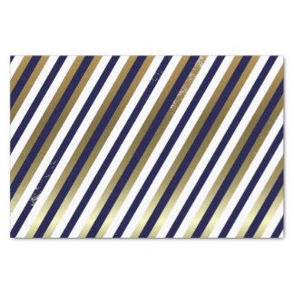 """Navy, White, Gold Diagonal Stripe Tissue Paper 10"""" X 15"""" Tissue Paper"""